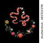 snake flowers patch embroidery | Shutterstock .eps vector #681922198