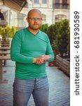 a mature alone man hipster in... | Shutterstock . vector #681930589