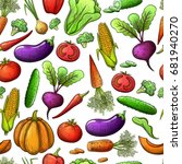 colorful sketch style seamless... | Shutterstock . vector #681940270