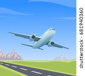 airplane is flying over the... | Shutterstock . vector #681940360