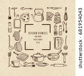 a set of kitchen utensils.... | Shutterstock .eps vector #681954043