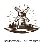 windmill  mill logo or label.... | Shutterstock .eps vector #681955090