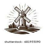 windmill  mill logo or label.... | Shutterstock .eps vector #681955090