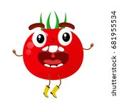funny tomatoes character... | Shutterstock .eps vector #681955534