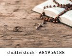 bible and a crucifix on a old... | Shutterstock . vector #681956188