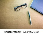 business accessories on desktop ... | Shutterstock . vector #681957910