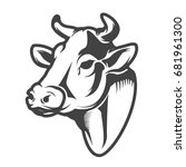 cow head icon isolated on white ... | Shutterstock .eps vector #681961300