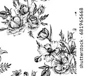 vintage vector floral seamless... | Shutterstock .eps vector #681965668