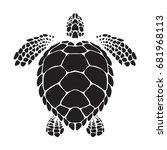 graphic sea turtle  vector   Shutterstock .eps vector #681968113