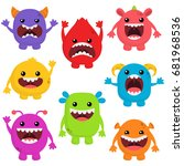 cute monsters with big mouths | Shutterstock .eps vector #681968536