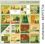 Nature social media banners and post templates. Outlined vector design, easy to edit.