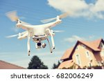 drone usage. private property... | Shutterstock . vector #682006249