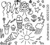 summer food nature doodles... | Shutterstock .eps vector #682015120