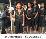 Small photo of PENAMPANG, SABAH,MALAYSIA-July 22,2017:Dusun Tindal ,Tuaran,Sabah with traditional costume posing for camera during National Youth Folk Dance Festival 2017.