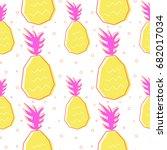 flat line pineapple pattern... | Shutterstock .eps vector #682017034
