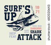 dangerous shark illustration... | Shutterstock .eps vector #682020643