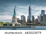 the statue of liberty with one... | Shutterstock . vector #682023079
