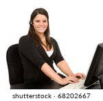 Young female employee doing customer support or phone sales work - stock photo