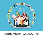 hands holding megaphone  mail ... | Shutterstock .eps vector #682027870