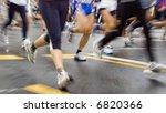 fast marathon runners slow sync ...   Shutterstock . vector #6820366