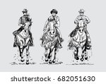 hand drawn three cowboys riding ... | Shutterstock .eps vector #682051630
