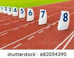 athletic running track | Shutterstock . vector #682054390