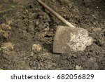 iron shovel dig the ground to... | Shutterstock . vector #682056829