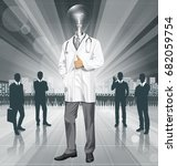 vector doctor man with... | Shutterstock .eps vector #682059754