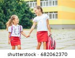 the older sister takes the... | Shutterstock . vector #682062370