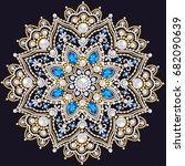mandala brooch jewelry  design... | Shutterstock .eps vector #682090639