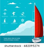 yacht club flyer design with... | Shutterstock .eps vector #682095274