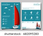 yacht club flyer design with... | Shutterstock .eps vector #682095283