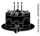 delicious cake with candles... | Shutterstock .eps vector #682098334