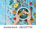 smoothie bowl with fresh... | Shutterstock . vector #682107730