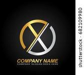 circle letter x logo design...   Shutterstock .eps vector #682109980