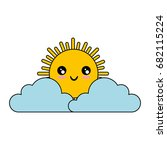 cloud and sun icon | Shutterstock .eps vector #682115224