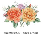hand painted watercolor... | Shutterstock . vector #682117480