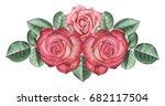 hand painted watercolor... | Shutterstock . vector #682117504