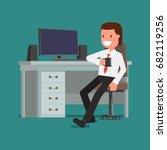 businessman is drinking coffee... | Shutterstock .eps vector #682119256