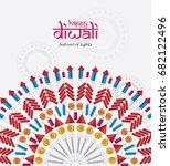 beautiful happy diwali festival ... | Shutterstock .eps vector #682122496