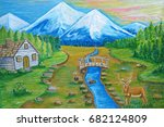 blue mountains landscape  | Shutterstock . vector #682124809