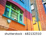 brightly painted walls and... | Shutterstock . vector #682132510