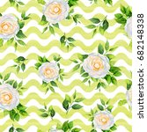 camellia flowers and leaves... | Shutterstock . vector #682148338
