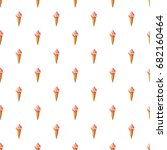 pink ice cream in waffle cone... | Shutterstock .eps vector #682160464