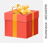 red gift box with yellow ribbon ... | Shutterstock .eps vector #682160590