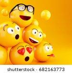 3d illustration. emojis icons... | Shutterstock . vector #682163773