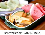 mixed fruit platter with cantaloupe, watermelon and honeydew slices - stock photo