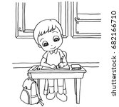 kids do homework in class...   Shutterstock .eps vector #682166710
