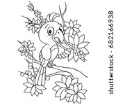 cartoon bird coloring page... | Shutterstock .eps vector #682166938