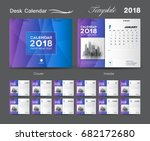 Set Blue Desk Calendar 2018...